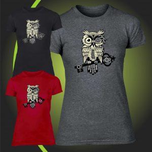 steampunk owl tshirt